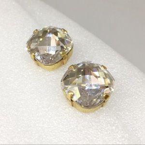 Faceted Crystal Stone Classy Clip On Earrings